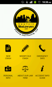 Screenshot of Bike Crash Kit app (on Android)