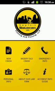 Screenshot of Bike Crash Kit app (on Android)