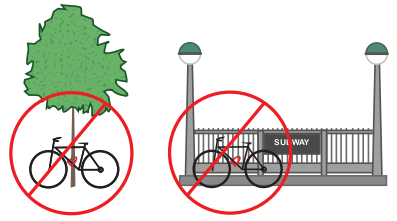 Do not lock to trees or subway railings.