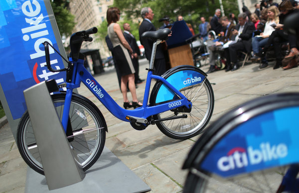 Photo of a docked Citi Bike from The New York Times